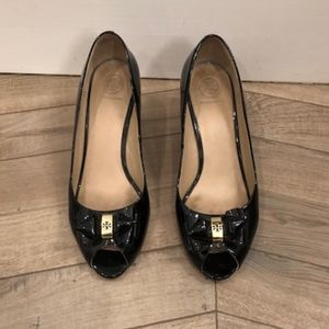 Tory Burch Pattern Leather Black Wedge Heels